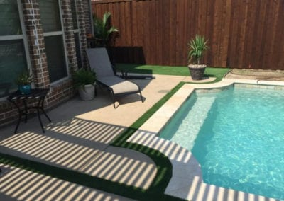 Artificial Turf Landscape Around Pool