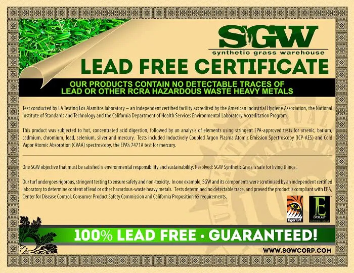 DFW Turf Solutions Synthetic Grass Warehouse Lead Free Certificate